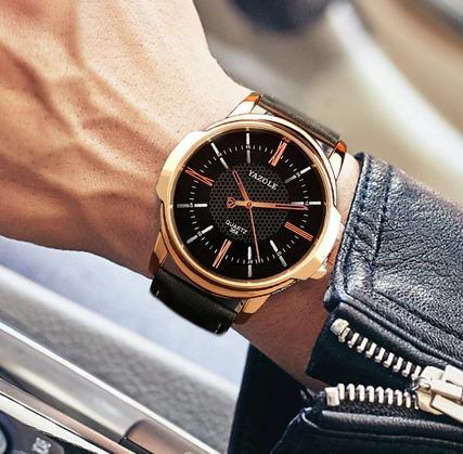reloj hombre yazole de lujo cuero - dorado/negro