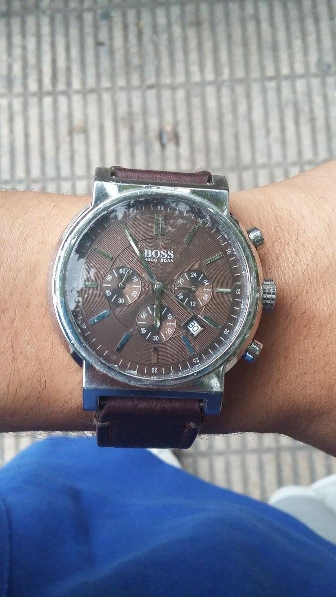 8ac364080c84 Reloj Hugo Boss Hombre Con Malla De Cuero Y Tres Cronografos ...
