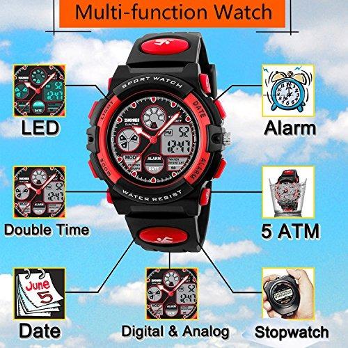 f8d9d7bc298e Reloj Infantil De Cuarzo 50m Impermeable Led Cronómetro Di ...
