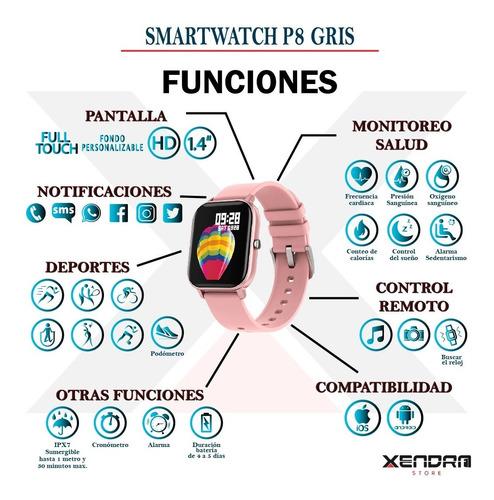 reloj inteligente smartwatch p8 pink para mujer / full touch