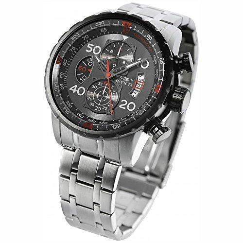 reloj invicta aviator 17204/ banda de acero inoxidable/elect