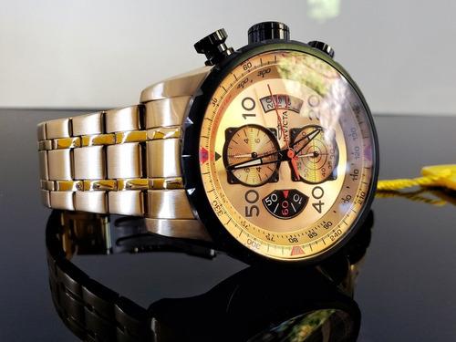 reloj invicta aviator caballero 17205 18k zafiro original