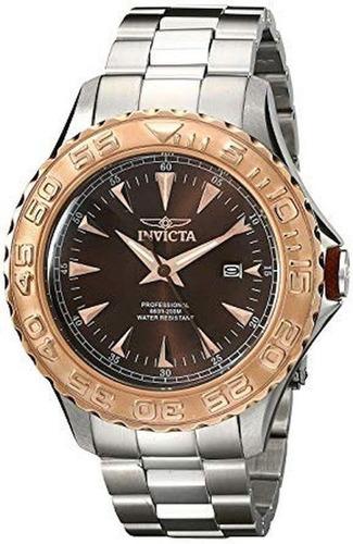 reloj invicta de hombre,cuadrante marrón,agujas color oro.