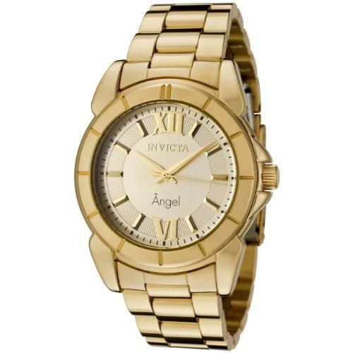 reloj invicta mujer 0459 angel rhodium plated gold tone