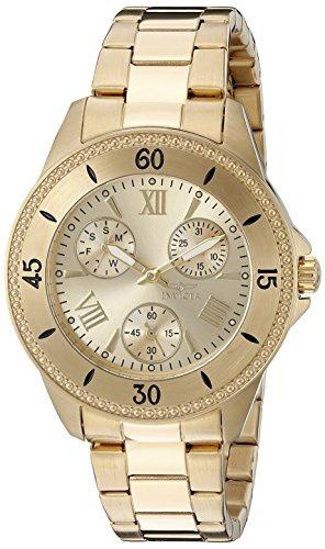 reloj invicta mujer 21683 angel analog display quartz gold