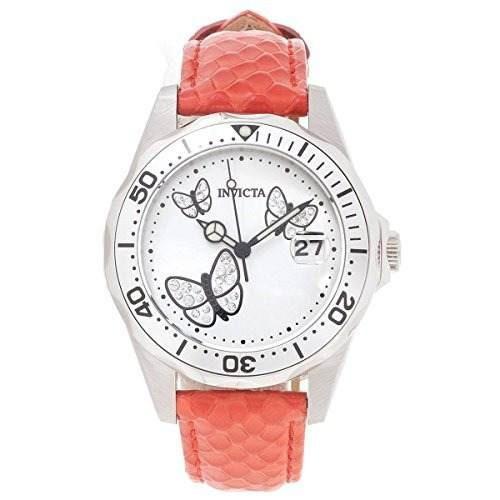reloj invicta mujer pro diver white dial red leather 19739