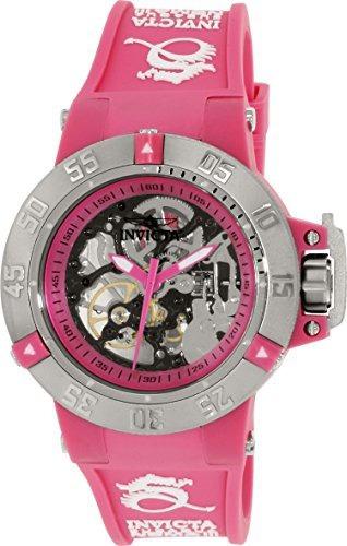reloj invicta mujer subaqua pink skeleton pink 17128