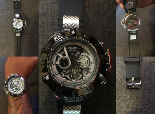 reloj invicta negro y plateado