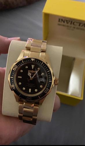 reloj invicta original en caja bañado en oro 18k