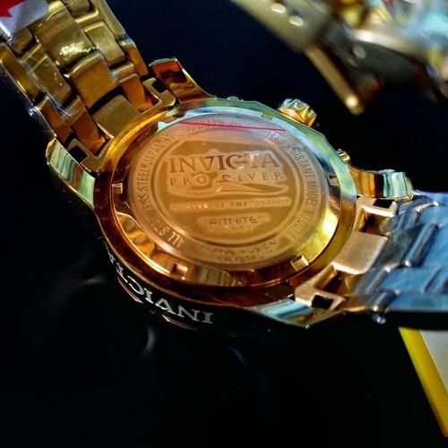 reloj invicta pro diver 0074 caballero dorado zafiro 18k