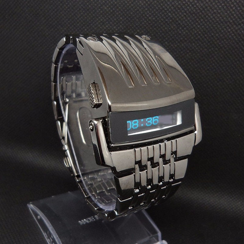 reloj iron man negro acero iron watch led  digital