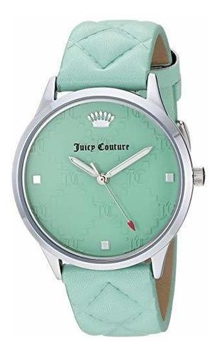 reloj jc - 1081mint con correa de cuero acolchado en verde p