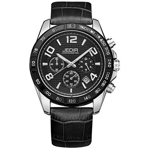 Jedir Reloj Men Watch Black Big Dial Chronograph White Arabi rxoBedCW