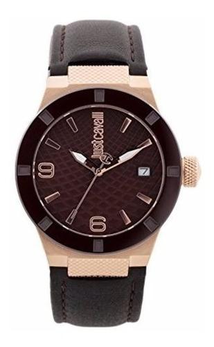reloj just cavalli rock piel café mujer redondo jc1l017l0045