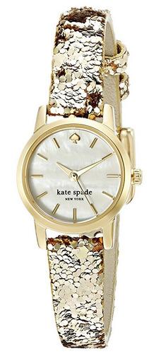 reloj kate spade tiny metro acero piel dorado mujer ksw1011