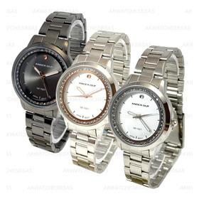 Reloj Knock Out Dama Mujer Plateado Combinado Strass 2439