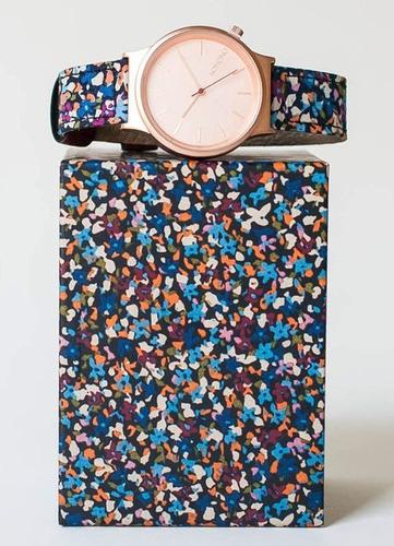 reloj komono the wizard print acero piel mujer kom-w1825