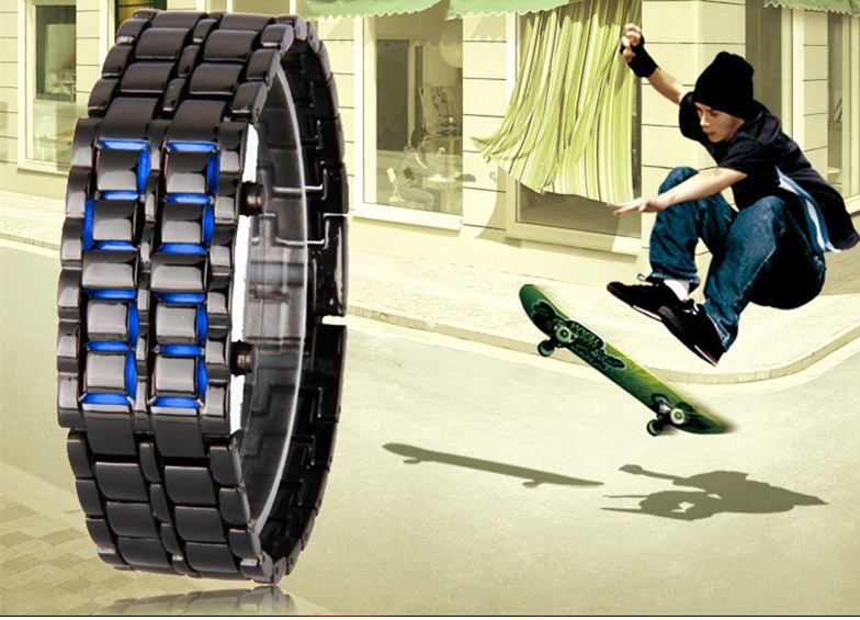 c2580dc057cb Reloj Lava Led Iron Samurai Acero Inoxidable Led Azul - S  30