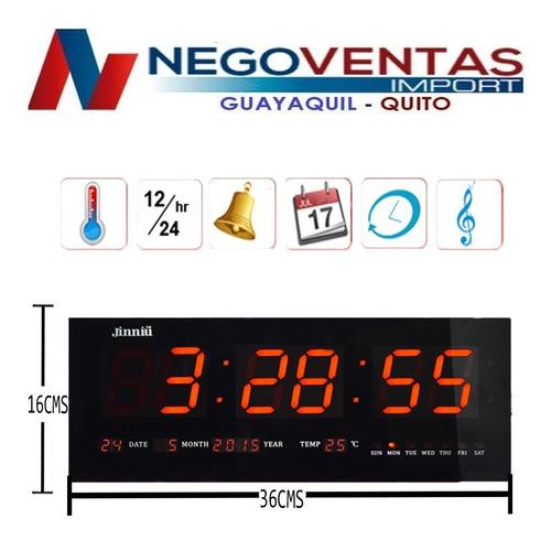 reloj led de pared 36cm y 46cm fecha temperatura alarma