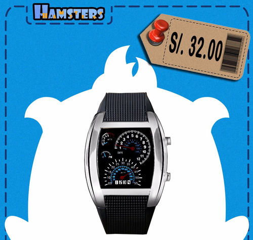 reloj led diseño velocímetro dial plateado