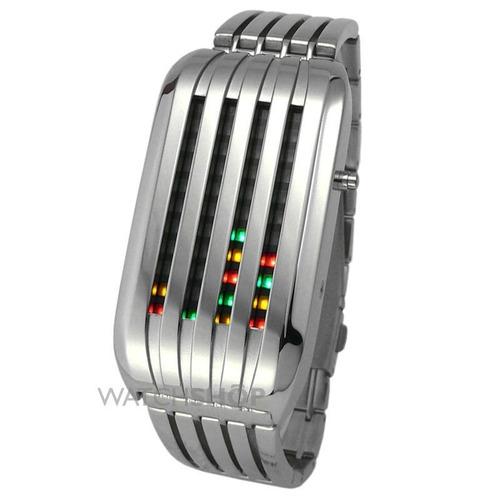reloj led tokyoflash barcode silver multiled original remate