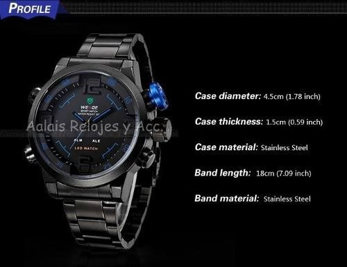 reloj led weide digital analogo acero inoxidable