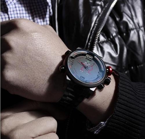 reloj led weide digital analogo acero inoxidable