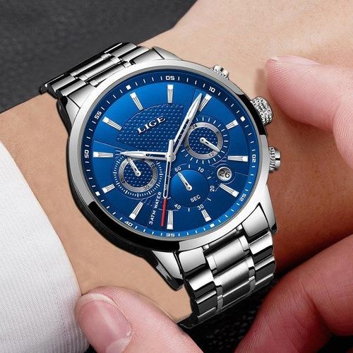 reloj lige original hombre de lujo, cuarzo, cronógrafo,9866
