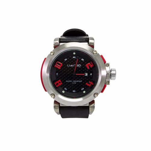 reloj limited 88-109-6 negro/rojo para caballero +obsequio