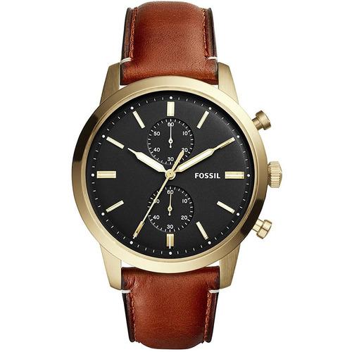 reloj  los hombres fossil de 44mm brown banda de cuero caja