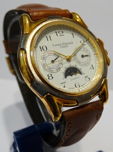reloj louis feraud quartz acero fase lunar calend malla cuer