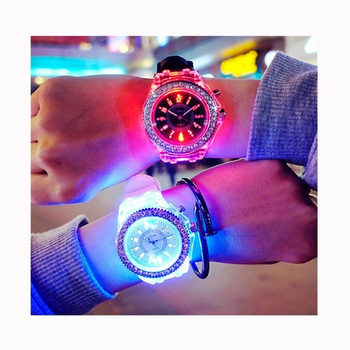 reloj luminoso led rgb regalo  luces geneva navidad multicol
