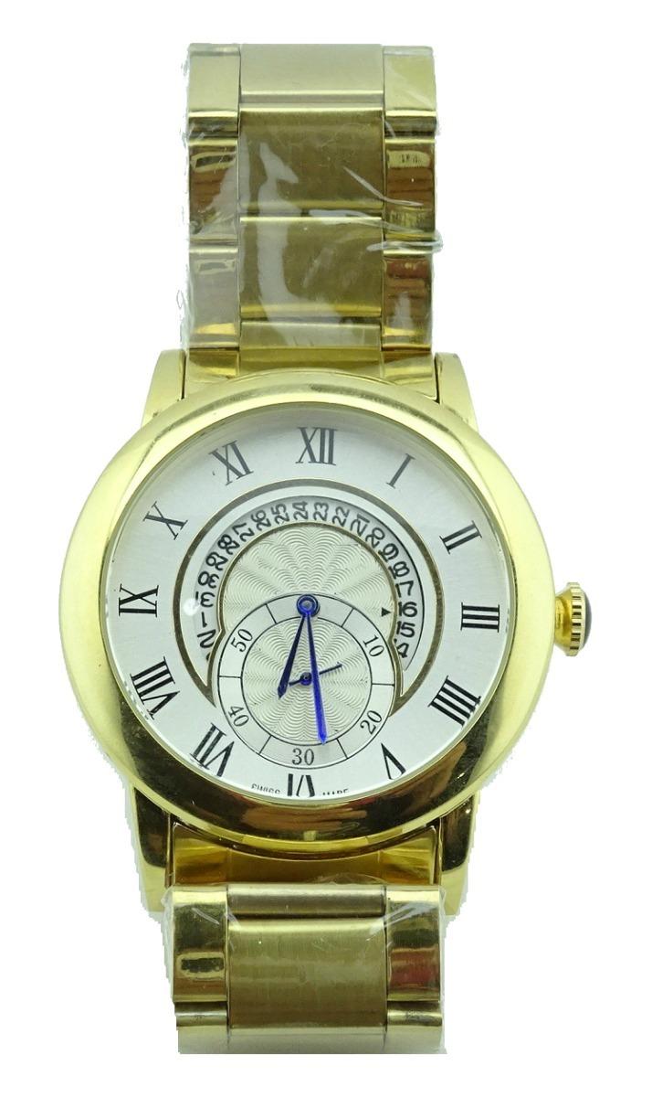 Reloj Luna Fechador Segundero Dorado Números Romanos 29 70000