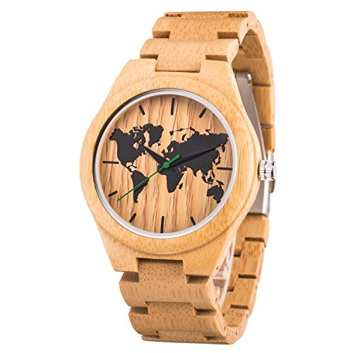 e983926d99b4 Reloj Mapa Mundial Hombres Reloj Pulsera Madera Bambú C -   180.990 ...