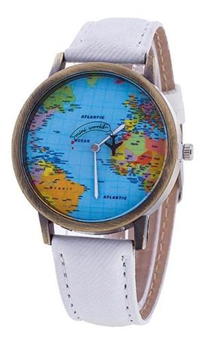 reloj mapamundi (blanco)