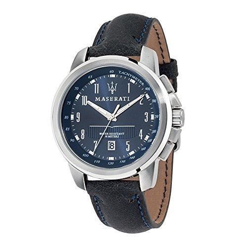 cb63c0f3549c Reloj Maserati R8851121003 Tacómetro Piel Hombre Azul -   1.056.777 en  Mercado Libre