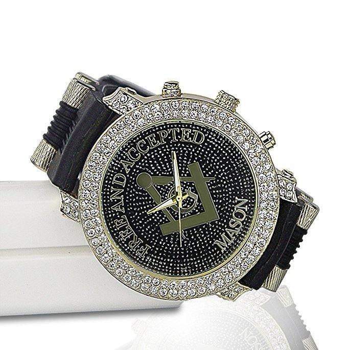 aa5276991997 Reloj Masónico Clásico Incrustaciones Cristal Diamond Hombre -   157.777 en  Mercado Libre