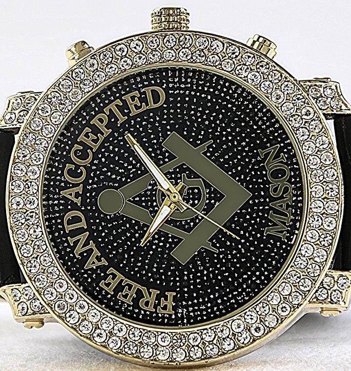 452a29f216df Reloj Masónico Clásico Incrustaciones Cristal Diamond Hombre ...