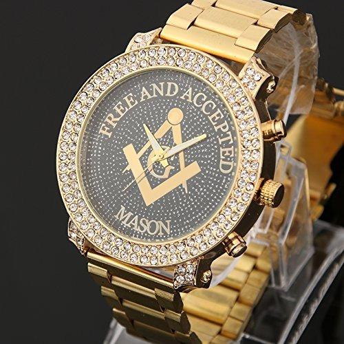 df496d0e7f9b Reloj Masónico Dorado Incrustaciones Cristal Diamond Hombre -   157.777 en  Mercado Libre