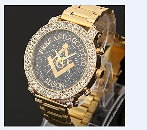 a7ea061b067d Reloj Masónico Dorado Incrustaciones Cristal Diamond Hombre ...