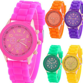 10 Relojes Geneva Mayoreo Lote Mujer Silicon Moda Dama A276