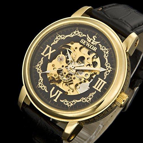 reloj mecánico cuero sewor hombres c1133