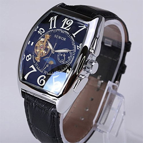 reloj mecanico de cuero sewor rectangle self wind moonphase