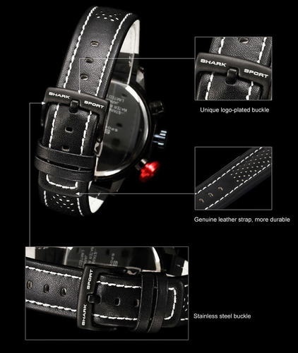 reloj megalodon con fechadores correa de piel (envío gratis)