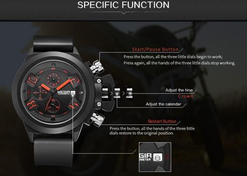 reloj megir militar deportivo cronografo fecha lujo