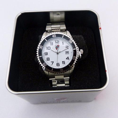 reloj metalico river plate en lata con llavero de regalo