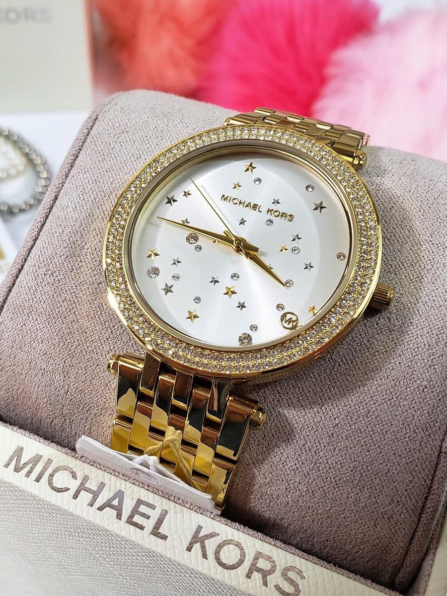 Dama Estrellas Dorado Kors Acero Mk3727 Michael Reloj n0NwOX8Pk