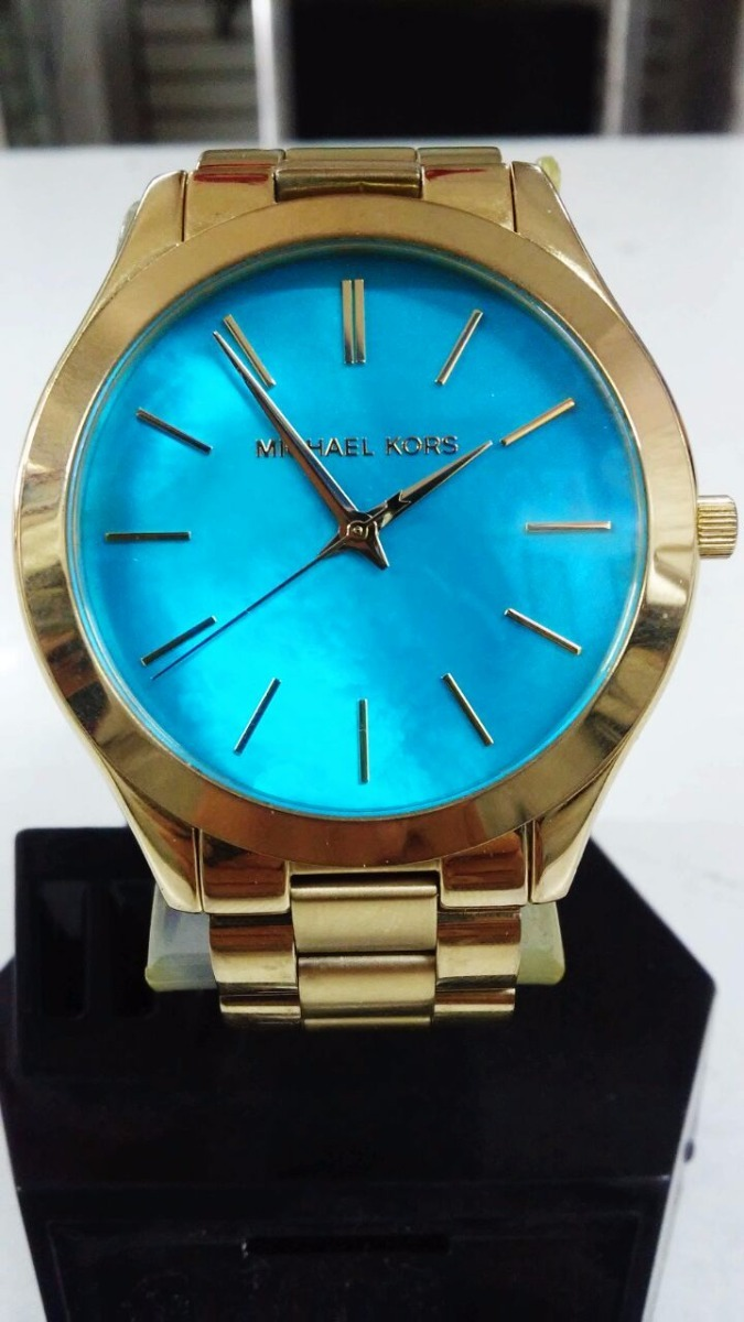 Azul Mod Kors Michael Color Con Mk3492 Dorado Reloj Carátula jpSULMGqzV