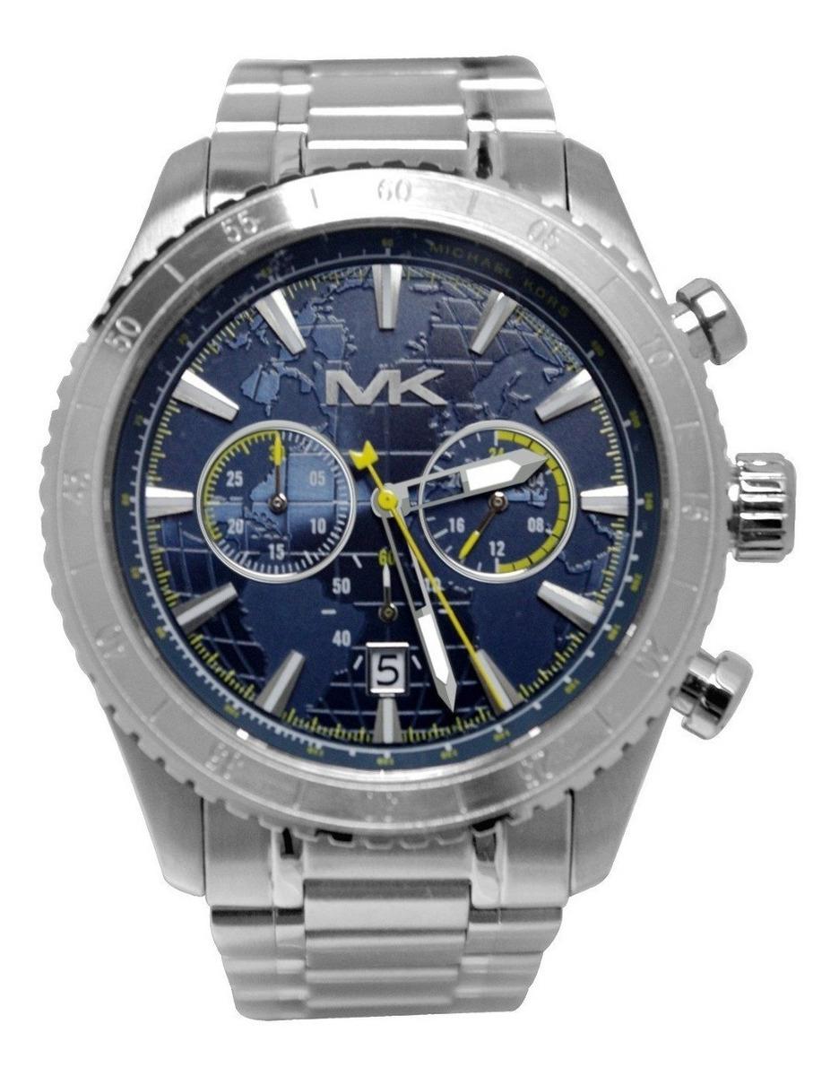 Reloj Michael Kors Para Hombre Mk8351 Azul Plata Acero