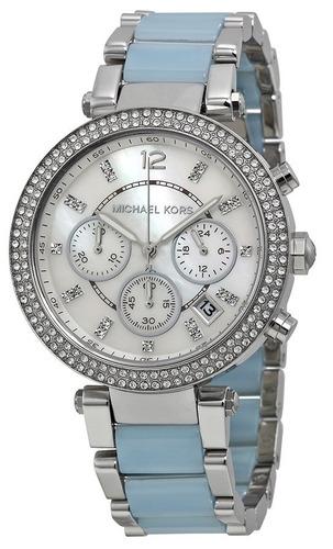 reloj michael kors parker chambray cronógrafo mujer mk6138